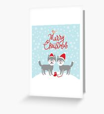 Merry Christmas New Year's card design funny gray husky dog in red hat, Kawaii face with large eyes and pink cheeks, boy and girl and white snowflakes on blue background Greeting Card