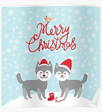Merry Christmas New Year's card design funny gray husky dog in red hat, Kawaii face with large eyes and pink cheeks, boy and girl and white snowflakes on blue background Poster