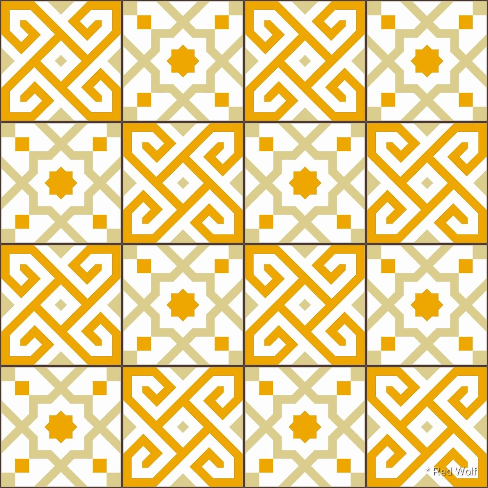 Geometric Pattern: Tiles: Orange by * Red Wolf