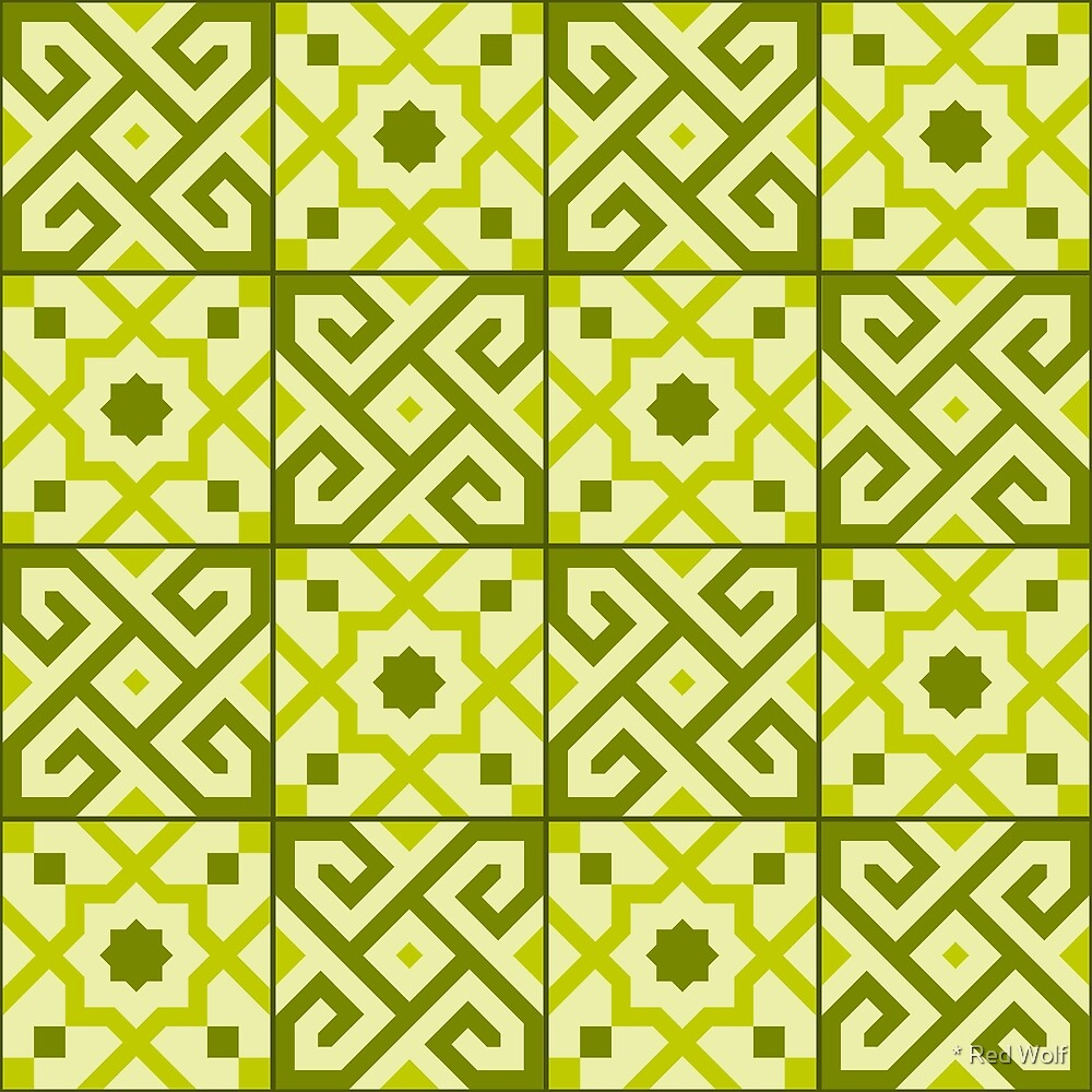 Geometric Pattern: Tiles: Green by * Red Wolf