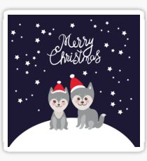 Merry Christmas New Year's card design funny gray husky dog in red hat, Kawaii face with large eyes and pink cheeks, boy and girl on darck blue background Sticker