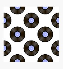 Retro Vynils Isolated on White Background. Sound Disc Seamless Pattern Photographic Print