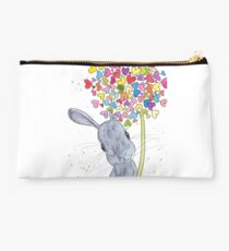 Grey Peppermint Bunny with Heart Dandelion Studio Pouch