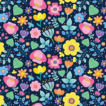 Cute Floral in Blue Green Pink and Orange by tsuttles