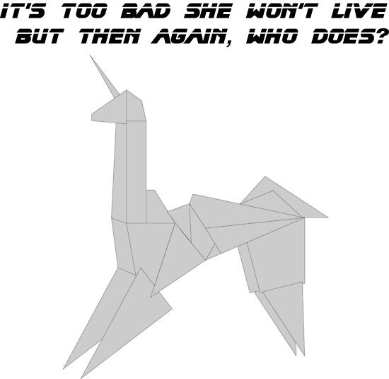 Bladerunner Origami Unicorn Posters By Brickmanat9876 Redbubble
