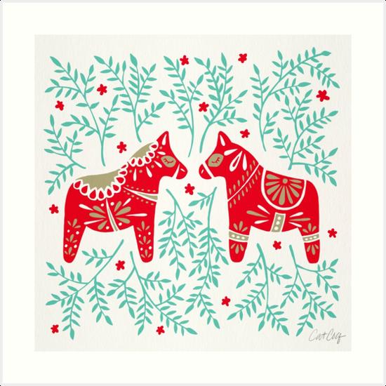 Schwedische Dala Pferde - Red & Mint Palette von Cat Coquillette