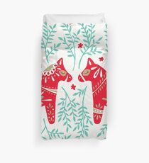 Swedish Dala Horses – Red & Mint Palette Duvet Cover