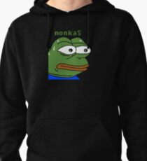 MonkaS Sweating Pepe Twitch Emote Pullover Hoodie