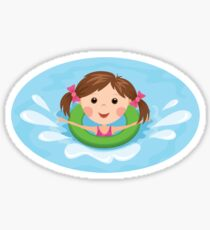 Cute girl playing in the water with green inflatable ring, stickers Sticker