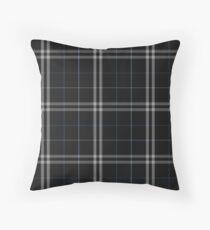 Black, Blue, Navy, White   Scottish Clan Tartan Throw Pillow