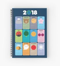 Happy Nature Kawaii 2018 Calendar Spiral Notebook