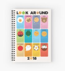 Look Around Kawaii 2018 Calendar Spiral Notebook