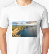 cliffs of moher birds eye aerial drone panoramic view county clare ireland. wild atlantic way T-Shirt