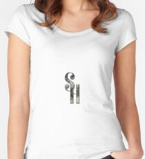 Double Monogram - SH - Single font - glossy Women's Fitted Scoop T-Shirt