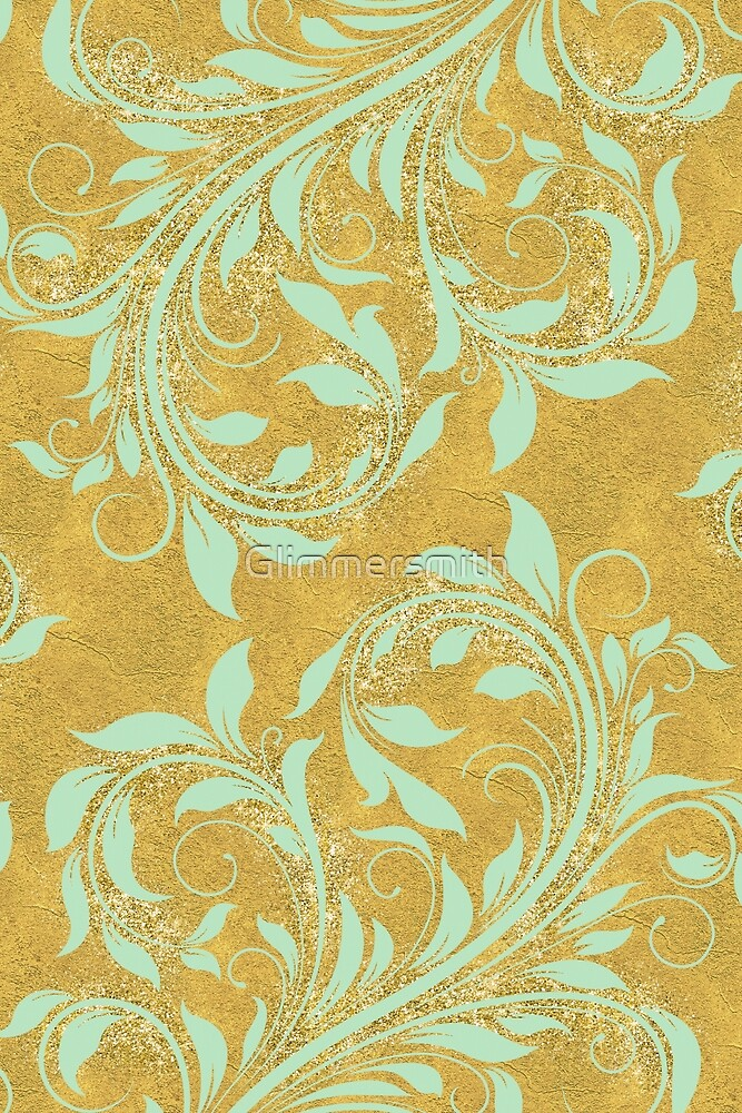 Mint green damask, on faux gold sparkle foil pattern by Glimmersmith