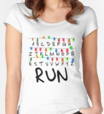Ligths Run - Stranger Things Women's Fitted Scoop T-Shirt