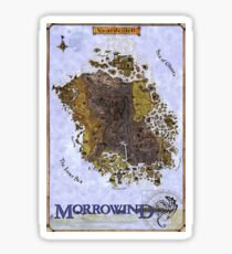 Morrowind Map Vvardenfell Poster, Restoration of Old Print Sticker