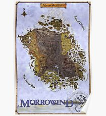 Morrowind Map Vvardenfell Poster, Restoration of Old Print Poster