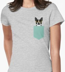 Darby - Boston Terrier pet design with hipster glasses in bold and modern colors for pet lovers Womens Fitted T-Shirt