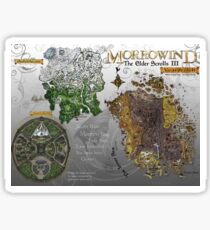 Morrowind, Elder Scrolls, 3 Islands Map, Poster Restoration Sticker
