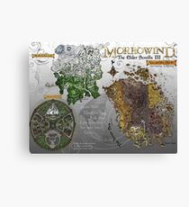 Morrowind, Elder Scrolls, 3 Islands Map, Poster Restoration Canvas Print