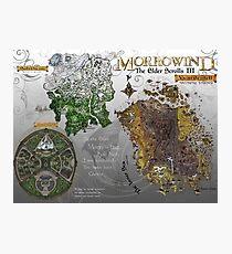 Morrowind, Elder Scrolls, 3 Islands Map, Poster Restoration Photographic Print