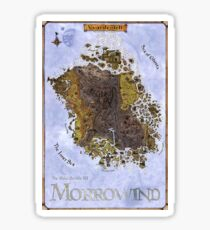 Morrowind, Vvardenfell, Elder Scrolls, Restored Map Poster Sticker