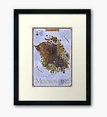 Morrowind, Vvardenfell, Elder Scrolls, Restored Map Poster Framed Print