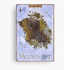 Morrowind, Vvardenfell, Elder Scrolls, Restored Map Poster Canvas Print