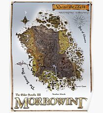 Morrowind Vvardenfell Map Restoration Project, Restored Vintage Print Poster