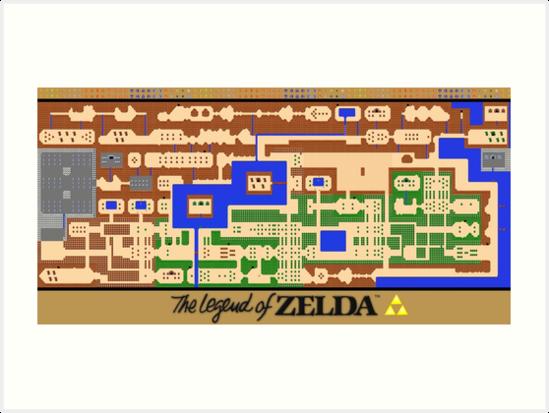 Legend Of Zelda Map Poster Retro Nes Popular Restoration Art Print By 7hunters