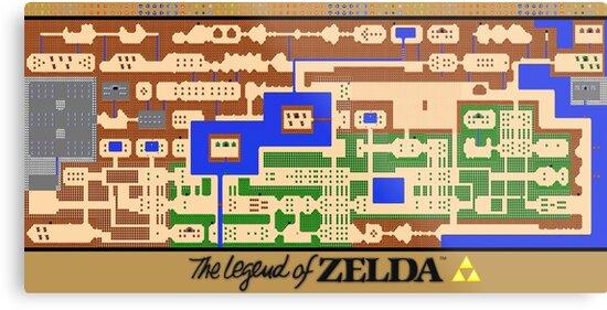 «Cartel del mapa de la leyenda de Zelda - Retro, NES, restauración popular» de 7hunters