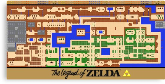 Legend Of Zelda Map Poster Retro Nes Popular Restoration Canvas Print By 7hunters