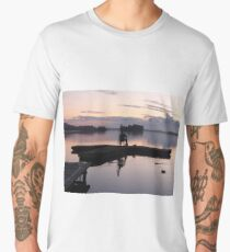 Sunset over a lake Men's Premium T-Shirt