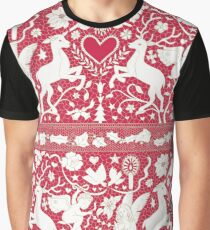 Antique lace - claret and cream - Traditional Christmas pattern by Cecca Designs Graphic T-Shirt