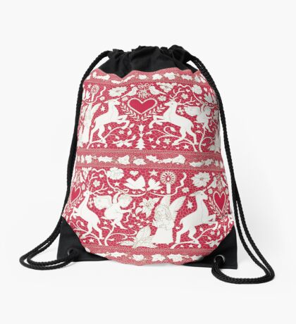 Antique lace - claret and cream - Traditional Christmas pattern by Cecca Designs Drawstring Bag