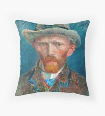 Van Gogh Self Portrait - Blue background and Hat Throw Pillow