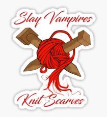 slay vampires knit scarves Sticker