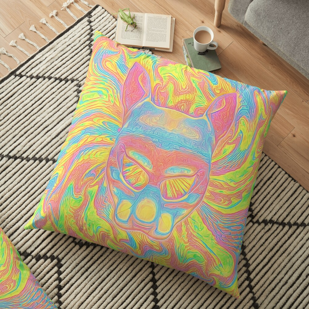 Abstract Mask Floor Pillow