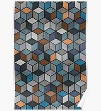 Colorful Cubes Pattern - Blue, Grey, Brown Poster