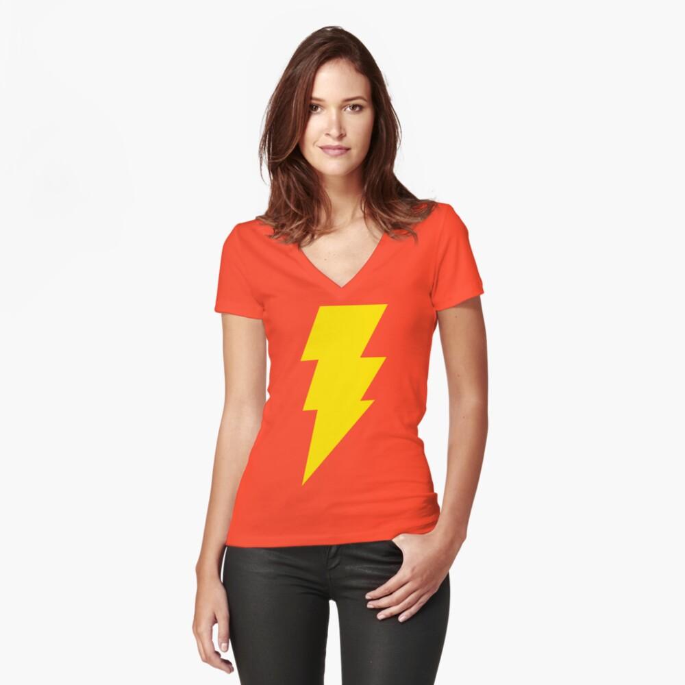 Shazam Tailliertes T-Shirt mit V-Ausschnitt