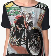 T-shirt with vintage antique and rusty motorcycle board Women's Chiffon Top