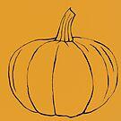Orange Kürbis Strichzeichnung für Halloween & Herbst von artbyvourneen