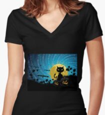 Halloween party background with cat Women's Fitted V-Neck T-Shirt