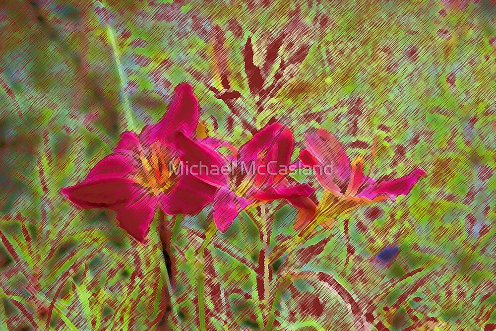 Three Lilies in Color Pencil by Michael McCasland