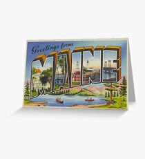 Greetings from Maine vintage postcard Greeting Card