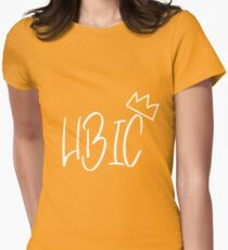 HBIC w/crown-- White Women's Fitted T-Shirt