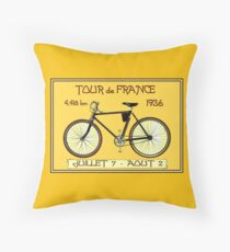 TOUR DE FRANCE ; Vintage Bicycle Race Print Throw Pillow