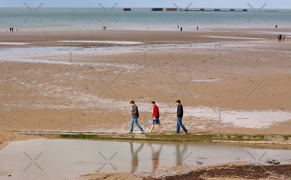 Three Friends on Gold Beach - 69  Years after D-Day by Buckwhite