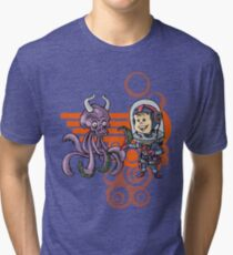 SpaceKid and the Purple Squiggle-Horned Skulltupus Tri-blend T-Shirt